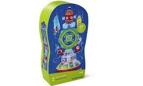 """This spaceship themed puzzle is a fun way for kids to learn and play! It includes 39 jumbo puzzle pieces that are easy for little hands to assemble. A floor puzzle like this is excellent for learning and play as well as great practice for hand-eye coordination, logic and problem solving skills! Comes in a fun-shaped storage box. Assembled puzzle measures approximately 12"""" wide x 48"""" tall. Ages 4+. #spaceship #towerpuzzle #crocodilecreek"""