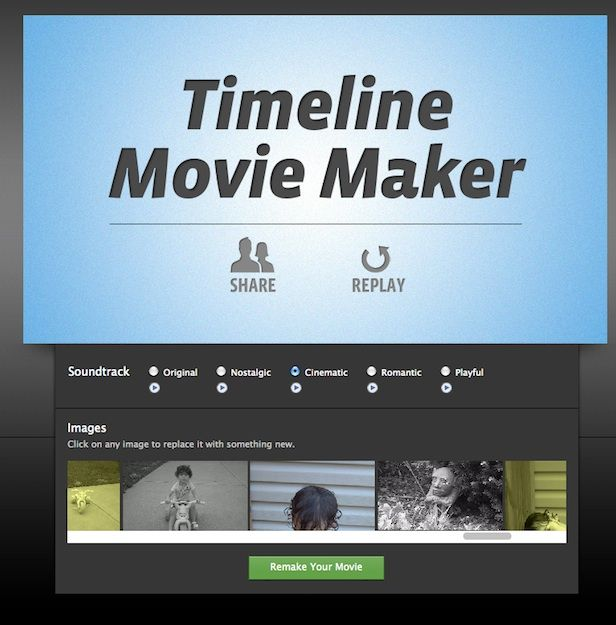 TIMELINE MOVIE MAKER. Make a video of your life through using photos in your Facebook Timeline.