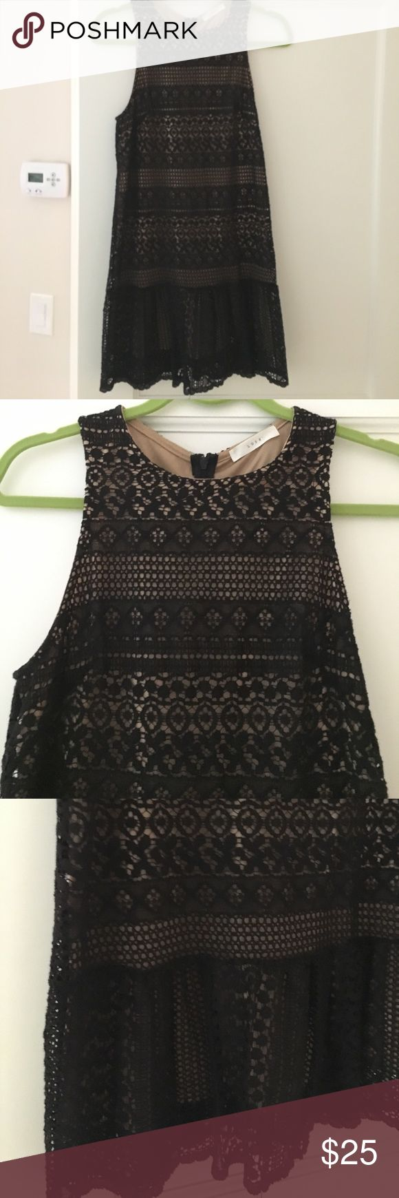 Lush black lace dress with tan lining Nordstrom's Lush- black lace dress with tan slip built in size S. Falls above the knee Lush Dresses Mini