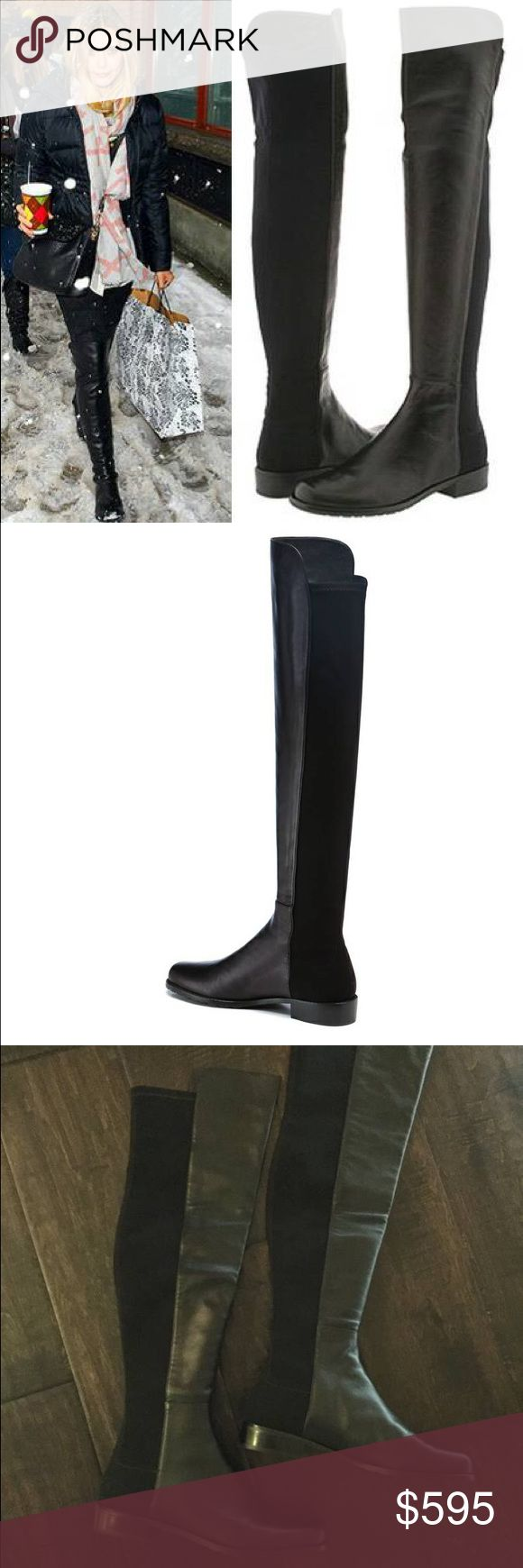 "Stuart Weizmann 50/50 Over the Knee Boots Selling Stuart Weitzman ""The 5050 Boot"" in black, worn twice, details below -   - Stuart Weitzman Brand - ""The 5050 Boot"" - Size 7.5 women - Color Black - Soft Napa Leather - Pull on with stretch back - Heel measures approximately ¾ inch - Shaft measures approximately 19 inches (shaft front extends addition 1.5 inches) - circumference 14 inches - leather insole - rubber sole - imported - brand new priced at $655 + tax…"