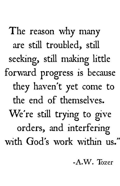 Let go and let God work.