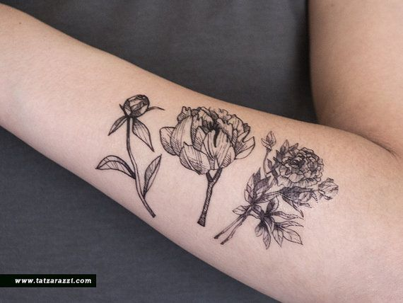 Floral Temporary Tattoo Flowers Bouquet Peony Nature Black
