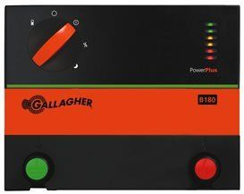Gallagher Battery Energizer B180 by Field Guardian. $310.00. Battery Energizer. Built in battery saved feature to extend battery life. Stored Energy: 1.8 Joules. Easy to use 5 stage rotary dial to change energizer operating functions. Gallagher B80 Battery Energizer Gallagher 12 volt battery energizer. It powers up to 55 acres or 8 miles of multi-wire permanent fence. - Stored Energy: 0.8 Joules - No Load: 7,600 volts - 500 Ohms Load: 4,700 volts - Built in battery sa...