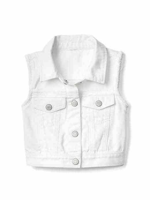 White denim vest from Gap for family photos!