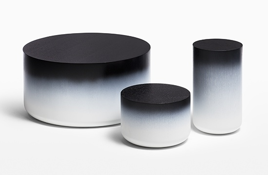 HOLLY HUNT Ombre tables for casegood inspiration, See more: http://www.brabbu.com/en/inspiration-and-ideas/