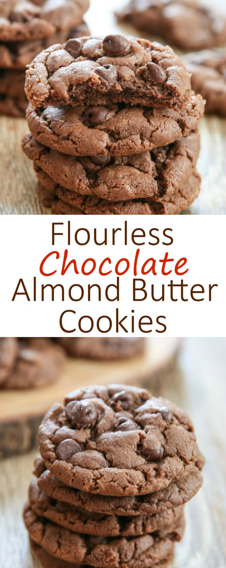 Flourless Chocolate Almond Butter Cookies. One bowl, no mixer needed!