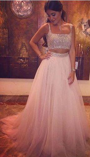 Two Pieces Beading Prom Dress,Long Prom Dresses,Charming Prom Dresses,Evening Dress, Prom Gowns, Formal Women Dress,prom dress