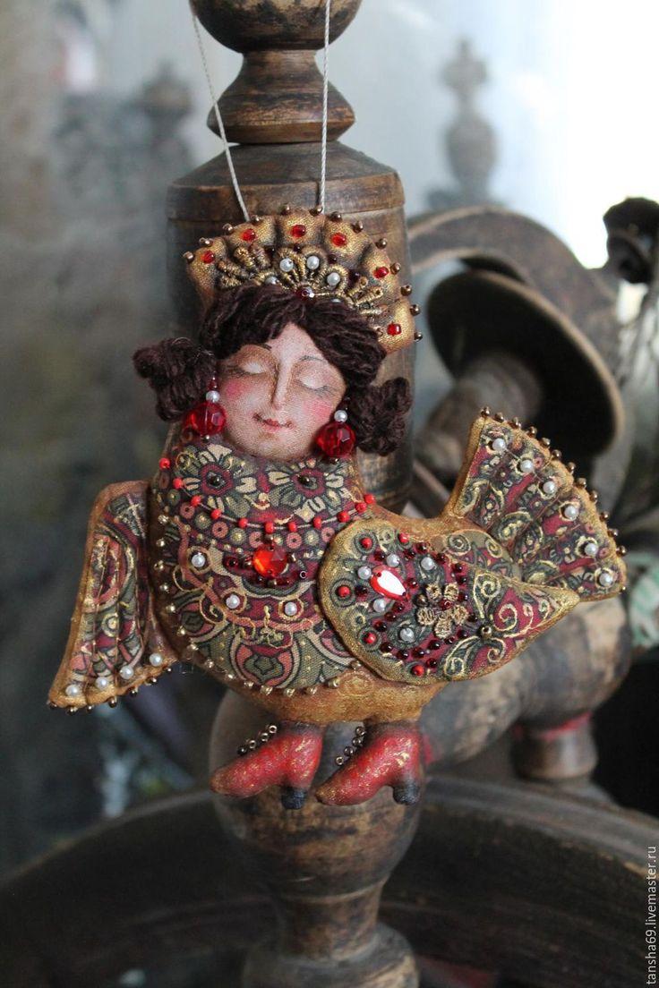 Купить Сказочные птицы - комбинированный, текстильная игрушка, новогодний подарок, новогодний сувенир, русский сувенир