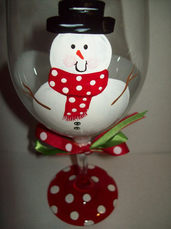 Painted Snowman wine glass