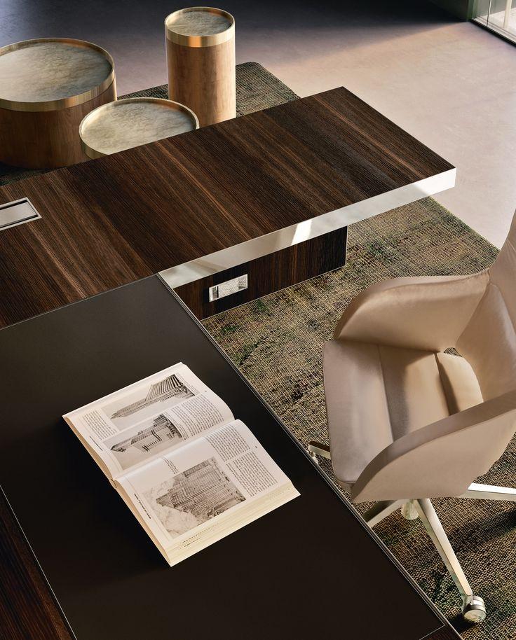 L-shaped executive desk VOGUE by Sinetica Industries design Sinetica Design Lab