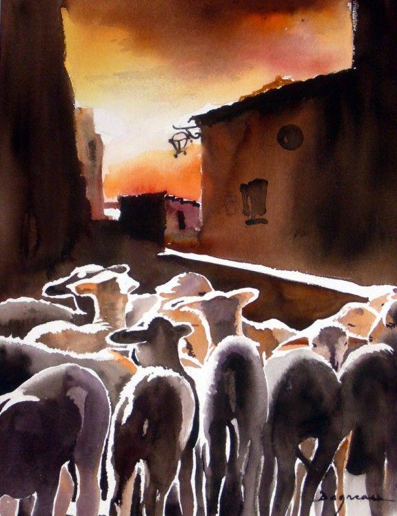 les-agneaux.jpg - Painting, 60x80 cm ©2014 par jean guy DAGNEAU - Art figuratif, Papier, La vie rurale, sud ouest