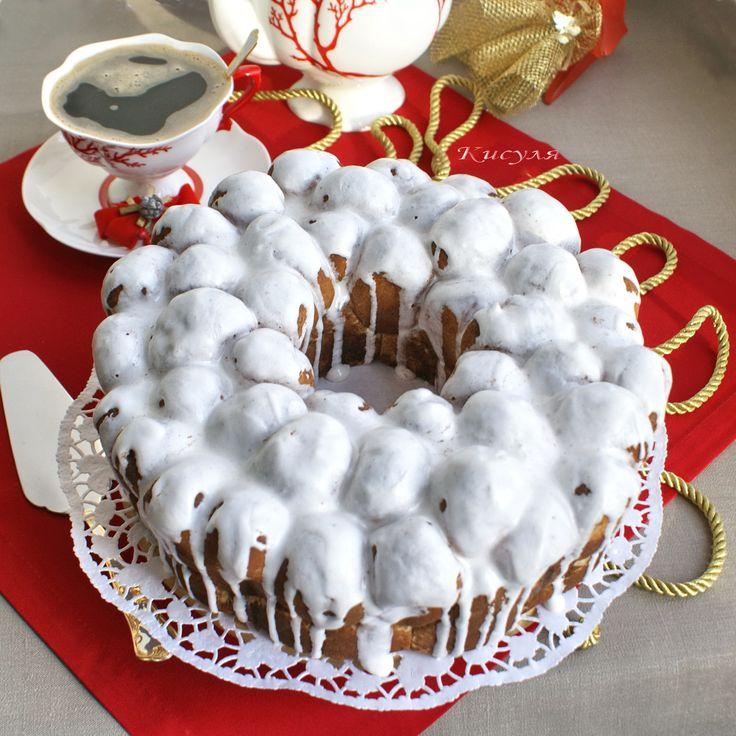 Мраморный пирог с корицей и глазурью