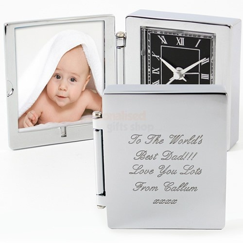 Engraved Photo Frame Travel Clock  from Personalised Gifts Shop - ONLY £19.95