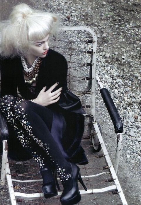 Sequined tights: Bejeweled Tights, Fashion, Italian Vogue, Craig Mcdean, Embellished Tights, Sasha Pivovarova, Bedazzled Tights Repin, October 2009
