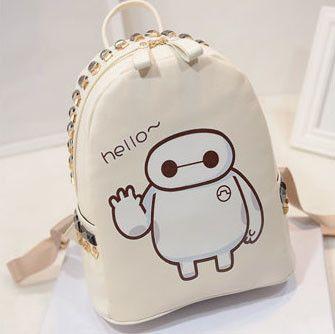 Korea Cute Baymax Print Rivet Backpack
