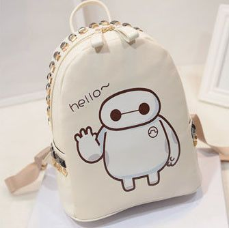 Korea Cute Baymax Print Rivet Backpack