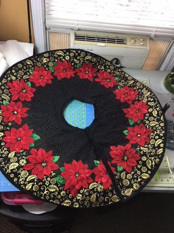 Quilted poinsettia Christmas tree skirt My Handmade quilts for