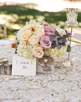 Simple, Classy, and Antique-y wedding centerpiece.  I like the textured lace table cloth and the use of silver
