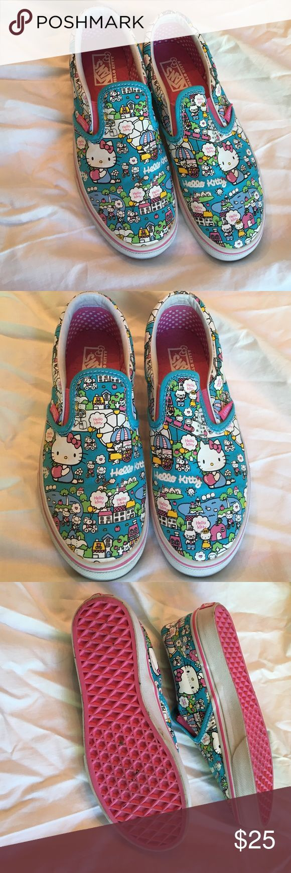 Hello Kitty Vans Youth Size 3 Hello Kitty Vans Youth Size 3 are barely worn. Small marks shown in picture. So cute. Purchased at Hello Kitty sore in Times Square. Printed coated canvas. Vans Shoes Sneakers
