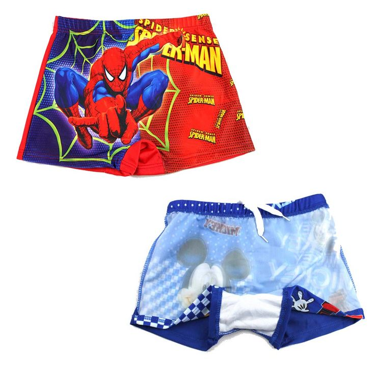 Baby boys swimwear 2017 kids summer cartoon spiderman,mouse superman beach shorts cute boys swim trunks child kids