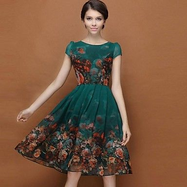 Women's Chiffon Printing Large Swing Dress – USD $ 41.29