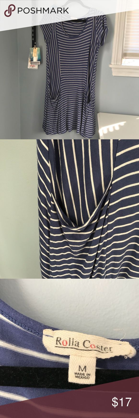 "Striped t shirt dress with pockets Blue and white T-shirt dress with horizontal and vertical stripes. Has pockets. Hits a little about the knee for me and I'm 5'4"". Only worn twice. Very soft. Rolla Coster Dresses"