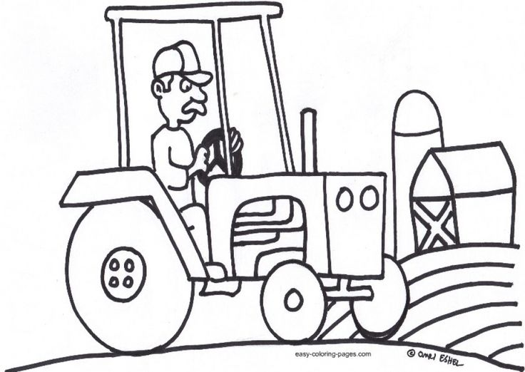 Easy Tractor Coloring Pages For Preschoolers