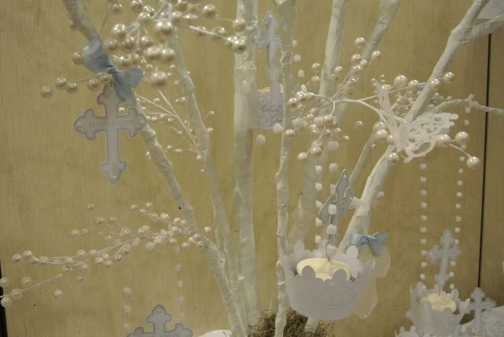 Christening party decoration ideas - tree centrepiece