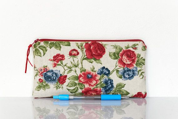 Shabby chic Flower pencil case zippered pouch lined pencil case by StudioAndCo