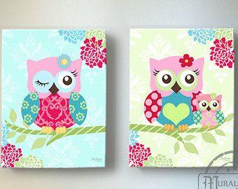Floral Owl Nursery wall art OWL canvas art Pink by MuralMAX