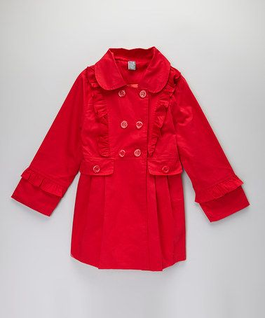 Take a look at this Red Peacoat - Toddler & Girls by Sweet Cheeks on #zulily today!