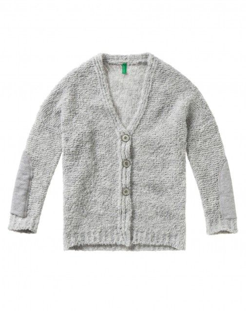 Shop Cardigan with patches Light Gray for Cardigans at the official United Colors of Benetton online shop.