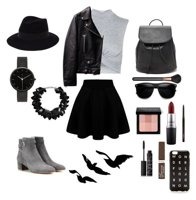 """""""set #17 (lady in black) by uberwine"""" by uberwine on Polyvore featuring Topshop, Gianvito Rossi, Forever 21, MAC Cosmetics, Bobbi Brown Cosmetics, Maison Michel, I Love Ugly, First People First, NARS Cosmetics and Rimmel"""