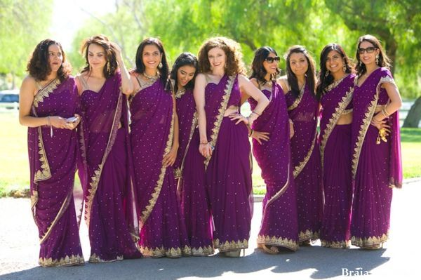 Purple sarees, bridesmaids.