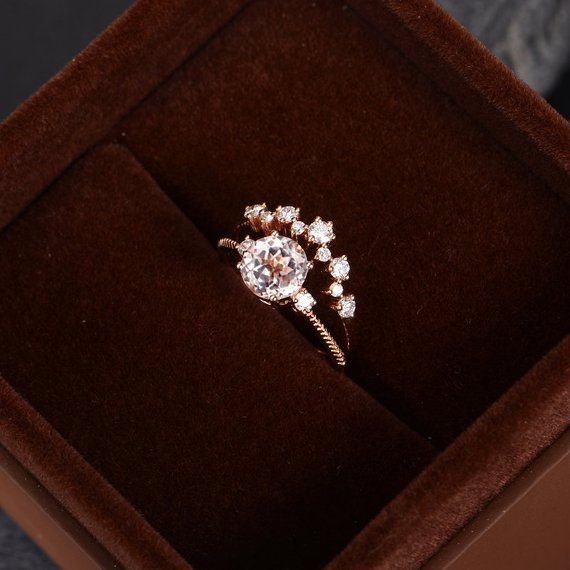 Morganite Engagement Ring Rose Gold 7mm Round Cut Bridal Sets Cluster Diamond Ring Half EternityWome