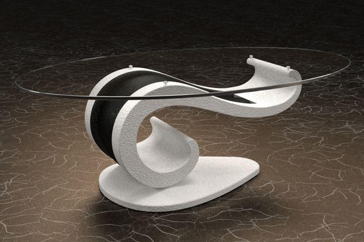 Articolo 62B-4-10-G     Tavolino da salotto LisaFinitura: bianco e nero opaco.Misure: cm 110 x 65 - Altezza: cm 37 - Peso: Kg. 51Vetro: ovale -  temperato - extrawhite - filo lucido - spessore 1 cm