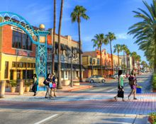 Daytona Beach, Florida's Downtown Historic Beach Street is lined with shops and restaurants.