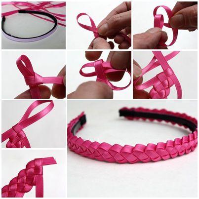 DIY Easy Braided Ribbon Headband Refashion