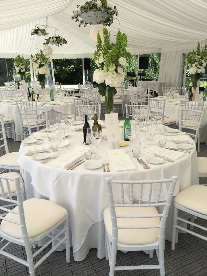 Marquee Interior with White Chiavari Chairs