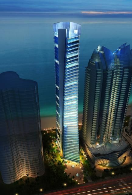 Rendering of Muse, a 650-foot condominium tower proposed for Sunny Isles Beach. The 47-story high-rise would include just 68 units, each of which will get a sculpture done by the artist Xhixha. ARCHITECT CARLOS OTT  Read more here: http://www.miamiherald.com/2014/01/06/3855981/tall-narrow-and-full-of-art-new.html#storylink=cpy
