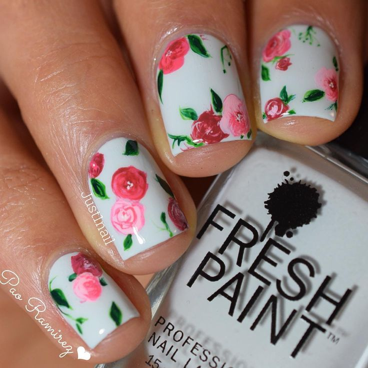 Pink and Red Floral Nails