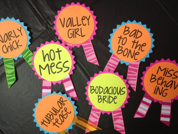 80s Neon Bachelorette Party Pins Name Tags by LetsWearDresses, $1.75