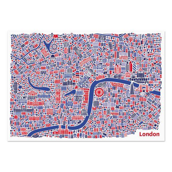 Londen-poster van VianinaPoster op Etsy