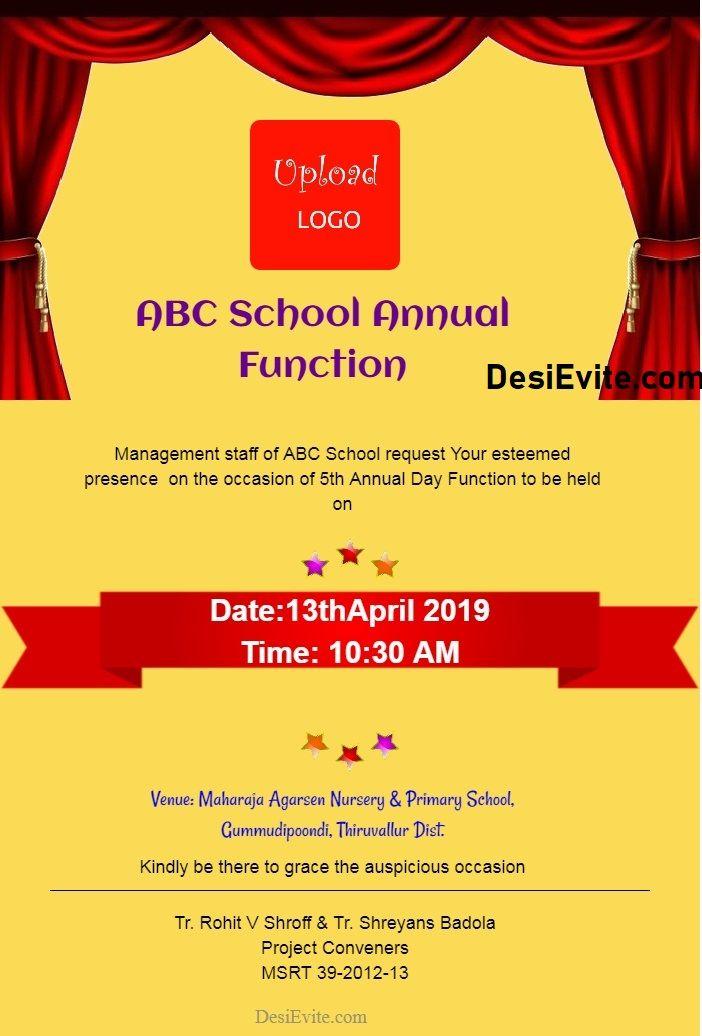 School Annual Day Invitation Card For Whatsapp Invitations
