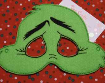 Grinch inspired felt mask for dress up or Halloween Pretend Play Imagination Education party favor