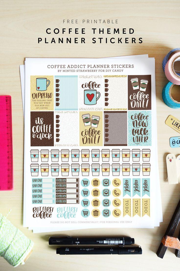 Scrapbook ideas printable - Coffee Themed Printable Planner Stickers