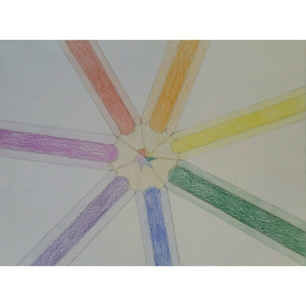 Coloured pencils in rainbow colours ; 2015-2916
