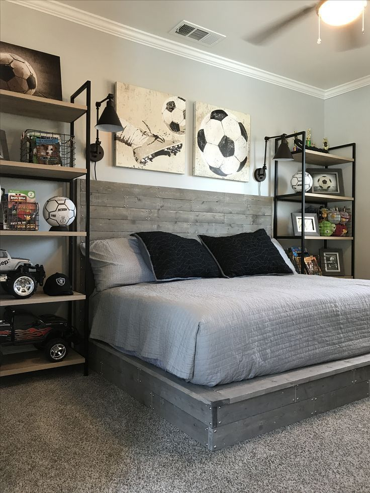 Industrial style boy soccer themed bedroom. DIY ha…