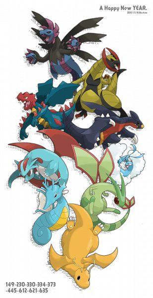 Dragon Types - Hydreigon, Haxorus, Druddigon, Garchomp, Salamence, Flygon, Altaria, Kingdra, Dragonite