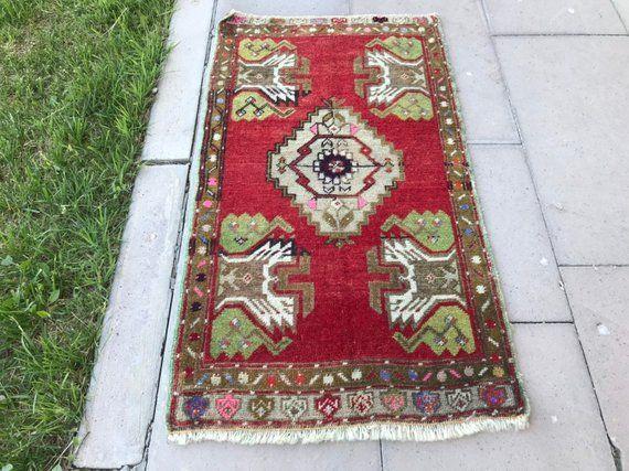 Vintage Home decor Turkish Small rug Housewarming gift Small Doormat Small runner rug Turkish small carpet Vintage Small Carpet